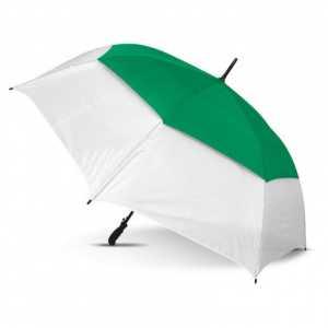 Trident Sports Umbrella CA107903 White Dark Green Open Side View
