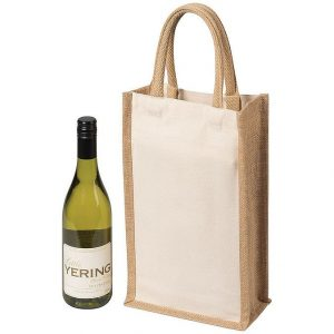 Two Bottle Canvas Wine Carrier 5048NA Natural Jute