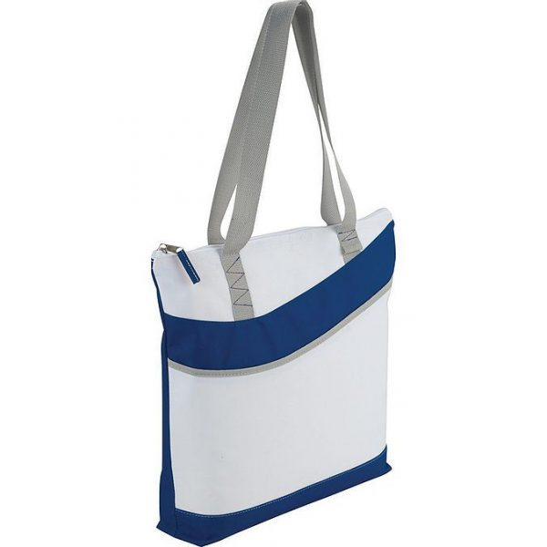 Upswing Zippered Convention Tote 5065GN White Blue Side View
