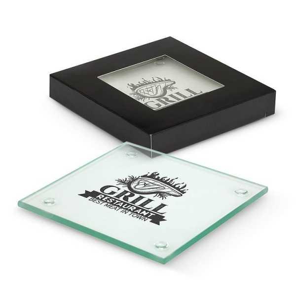 Venice Glass Coaster Set of 4 CA116395 Square Full Colour Branded in Black Gift Box