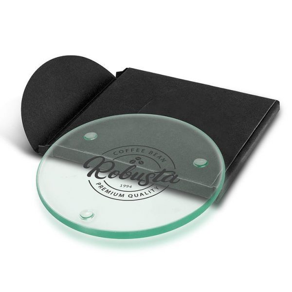 Venice Single Glass Coaster CA116132 Round Branded in Black Gift Pouch