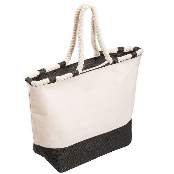 Zippered Laminated Canvas Tote Bag 5047BL Black