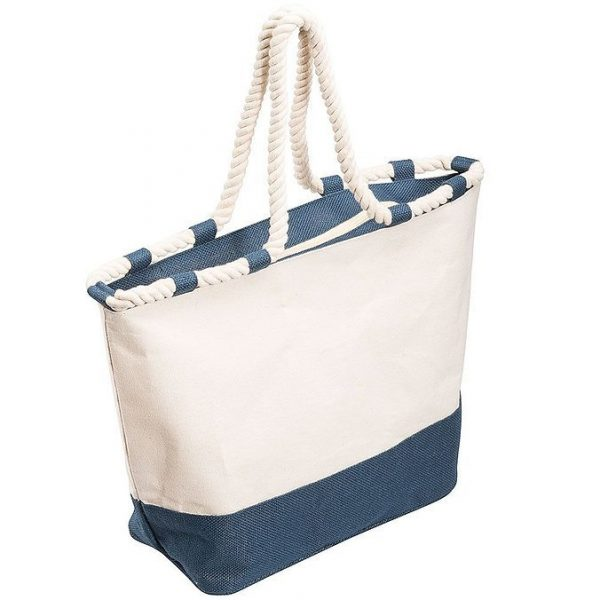 Zippered Laminated Canvas Tote Bag 5047BL Blue