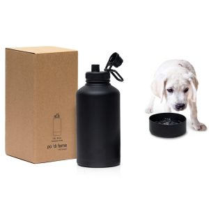 Absorption Copper Vacuum Drink Bottle With Removable Pet Bowl CAPOAB Black With Puppy Drinking Water