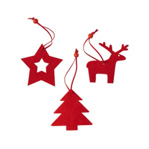 Christmas Tree Decoration Set CAM5197 Red Various Shapes