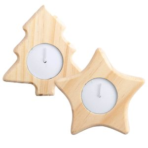 Deram Christmas Tea Candle Holder CAM6279 Christmas Wooden Star and Tree