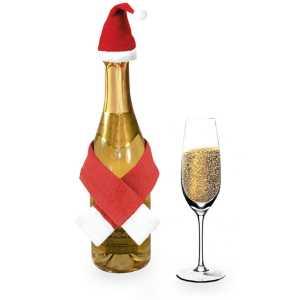 Douki Christmas Champagne Decoration Set CAM4261 Red White On Bottle