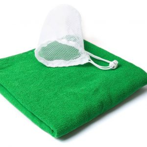 Drawstring Towel Bag Kirk CAM4563 Green with Mesh Pouch