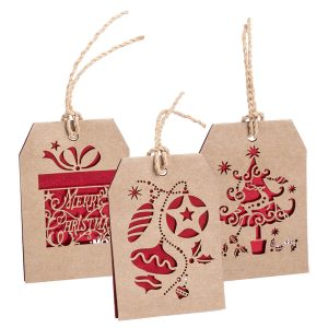 Goslak Christmas Gift Tag CAM5503 Various Christmas Decoration Red Natural