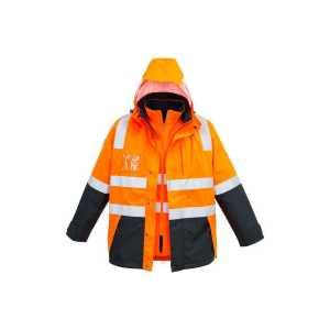Hi Vis 4 in 1 Waterproof Jacket Mens CAZJ532 Orange Navy Front Workwear Mens Jacket