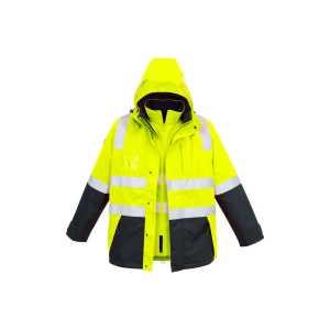 Hi Vis 4 in 1 Waterproof Jacket Mens CAZJ532 Yellow Navy Front Workwear Mens Jacket