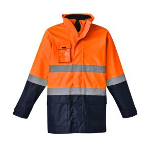Hi Vis Basic 4 in 1 Waterproof Jacket Mens CAZJ220 Orange Navy Front Workwear Mens Jacket