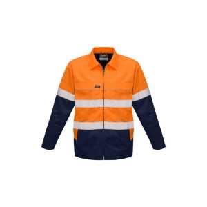 Hi Vis Cotton Drill Jacket Mens CAZJ590 Orange Navy Front Workwear Mens Jacket