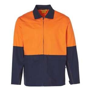 Hi Vis Cotton Jacket Unisex CASW45 OrangeNavy Front Workwear Jacket