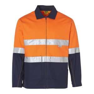 Hi Vis Cotton Jacket With 3M Tape Unisex CASW46 OrangeNavy Front Workwear Jacket