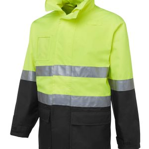 Hi Vis DN Long Line Jacket Unisex CA6DNLL Lime Black Workwear Jacket