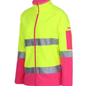 Hi Vis DN Soft Shell Jacket With Reflective Tape Womens CA6D4J1 Lime Pink Workwear Jacket