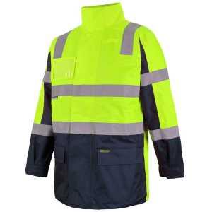 Hi Vis DN Visionary Jacket Unisex CA6DNCJ Lime Navy Workwear Jacket