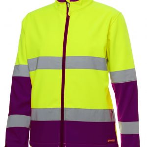 Hi Vis DN Water Resistant Soft Shell Jacket Womens CA6DWJ1 Workwear Jacket Lime Mulberry