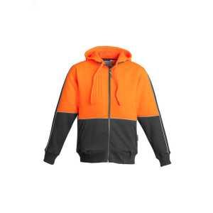 Hi Vis Full Zip Hoodie Mens CAZT464 Orange Charcoal Front Workwear Unisex Hoodie