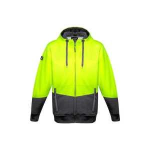Hi Vis Full Zip Textured Jacquard Hoodie Unisex CAZT478 Yellow Charcoal Front Workwear Unisex Hoodie