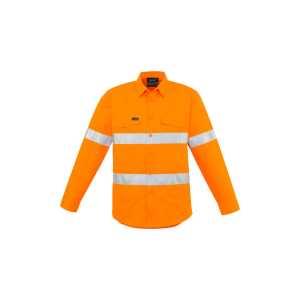 Hi Vis Hoop Taped Shirt Mens CAZW640 Orange Front Workwear Shirt