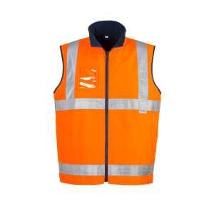 Hi Vis Lightweight Fleece Lined Vest Mens CAZV358 Orange Front Workwear Unisex Vest
