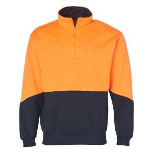 Hi Vis Long Sleeve Fleece Sweatshirt Unisex CASW13A Orange Navy Front Workwear Jacket