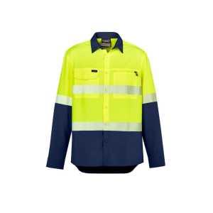 Hi Vis Outdoor Segmented Tape Long Sleeve Shirt Mens CAZW470 Yellow Navy Front Workwear Mens Shirt