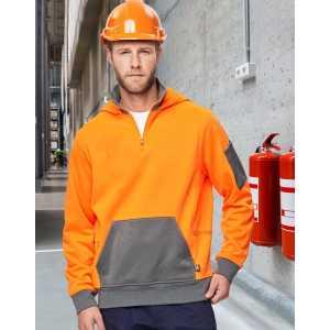 Hi Vis Premium Quater Zip Fleece Hoodie Unisex CASW78 Orange Ash Workwear Jacket