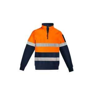 Hi Vis Quater Zip Pullover Hoop Taped Mens CAZT566 OrangeNavy Front Workwear Unisex Pullover