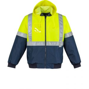 Hi Vis Quilted Flying Jacket Mens CAZL351 YellowNavy Front Workwear Jacket with Hoodie