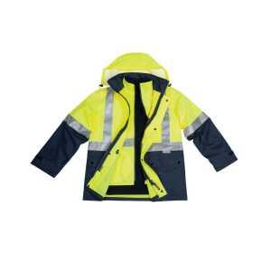 Hi Vis Reversible Vest Jacket Unisex CASW20A YellowNavy Front Workwear Jacket with Hoodie