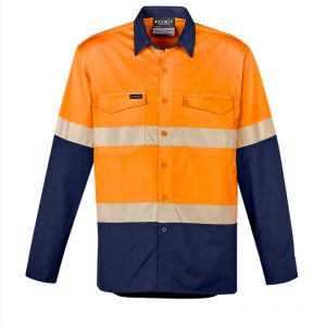 Hi Vis Rugged Cooling Segmented Tape Long Sleeve Shirt Mens CAZW229 OrangeNavy Front Workwear Mens Shirt