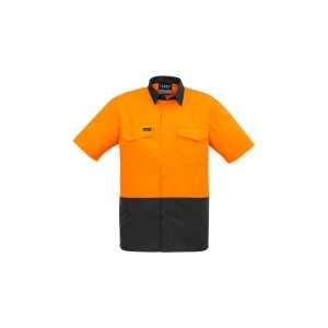 Hi Vis Rugged Cooling Spliced Short Sleeve Shirt Mens CAZW815 OrangeCharcoal Front Workwear Mens Shirt