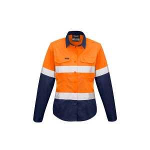 Hi Vis Rugged Cooling Taped Spliced Shirt Womens CAZW720 OrangeNavy Front Workwear Shirts
