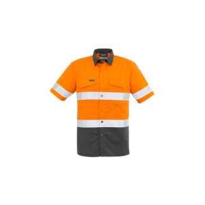 Hi Vis Rugged Cooling Taped Spliced Short Sleeve Shirt Mens CAZW835 OrangeCharcoal Front Workwear Mens Shirt