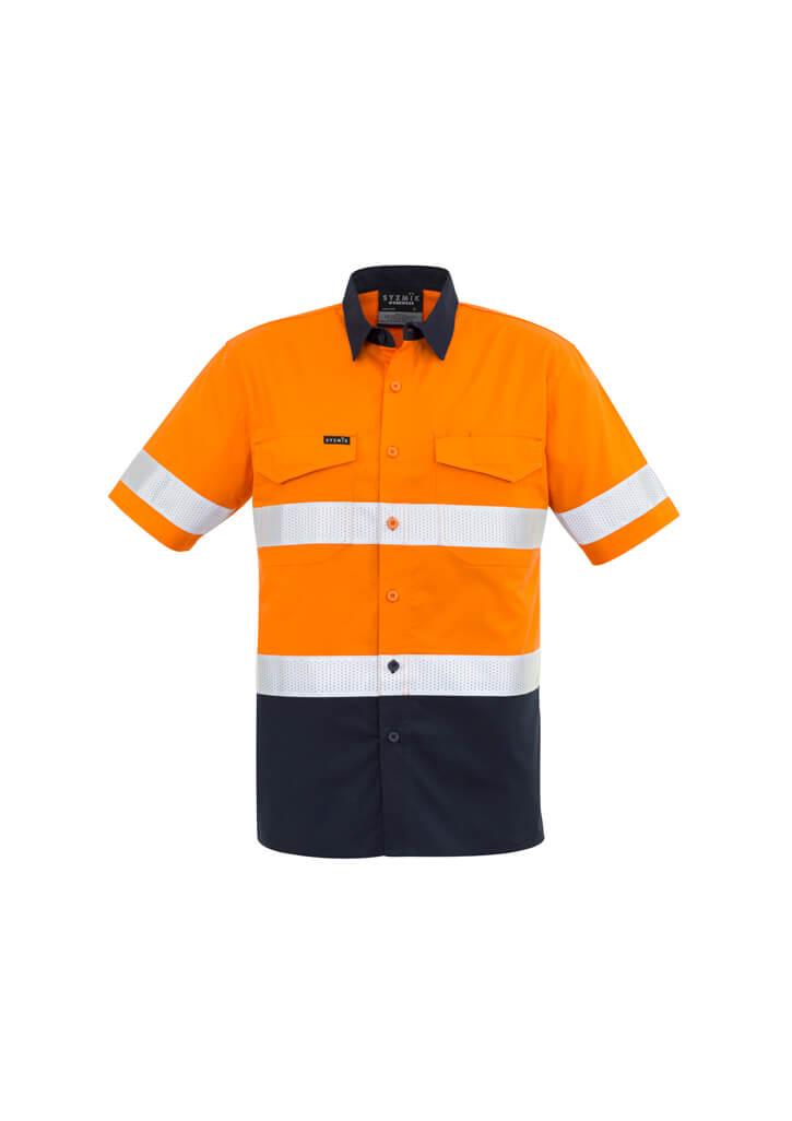 Hi Vis Rugged Cooling Taped Spliced Short Sleeve Shirt Mens CAZW835 OrangeNavy Front Workwear Mens Shirt