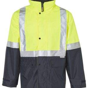 Hi Vis Safety Jacket with Mesh Lining 3M Tapes CASW18A Yellow Navy Front Workwear Jacket