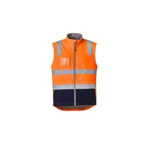 Hi Vis Soft Shell Vest Unisex CAZV426 OrangeNavy Front Workwear Unisex Vest