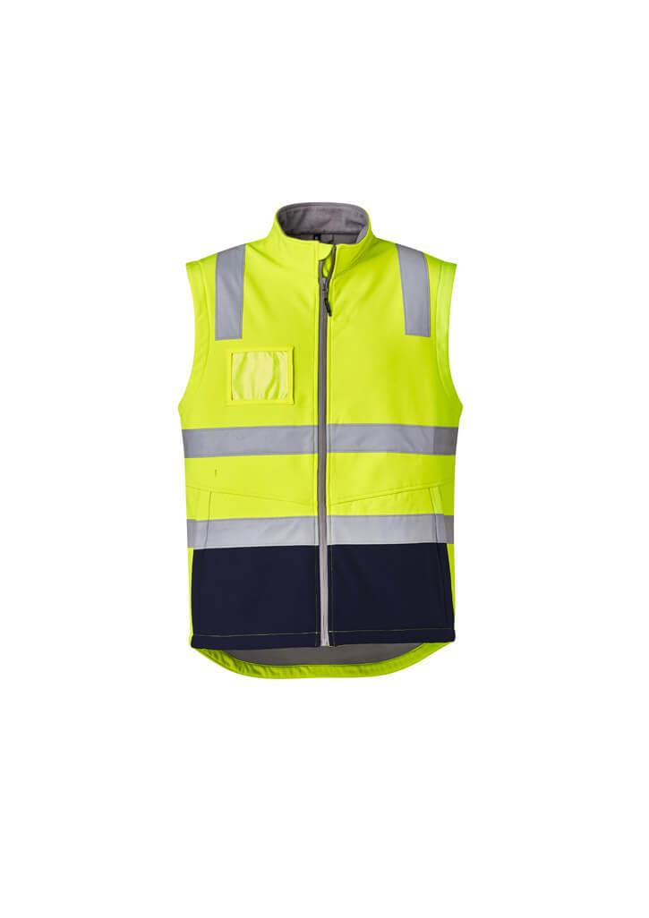 Hi Vis Soft Shell Vest Unisex CAZV426 YellowNavy Front Workwear Unisex Vest