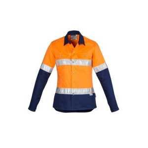 Hi Vis Spliced Industrial Hoop Taped Shirt Womens CAZWL123 OrangeNavy Front Workwear Ladies Shirt