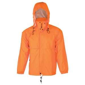 Hi Vis Spray Jacket With Pouch Unisex Fluoro Orange CASW27 Front Workwear Jacket