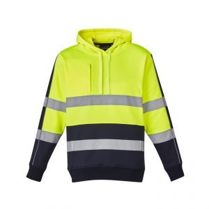 Hi Vis Stretch Taped Hoodie Unisex CAZT483 Yellow Navy Front Workwear Unisex Hoodie