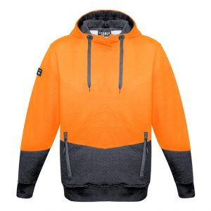 Hi Vis Textured Jacquard Hoodie Unisex CAZT477 Orange Charcoal Front Workwear Unisex Hoodie