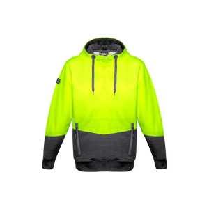 Hi Vis Textured Jacquard Hoodie Unisex CAZT477 Yellow Charcoal Front Workwear Unisex Hoodie