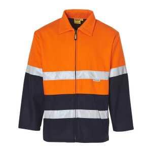 Hi Vis Two Tone Bluey Jacket Unisex CASW31A OrangeNavy Front Workwear Jacket