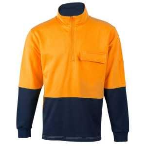 Hi Vis Two Tone Cotton Fleecy Sweater Unisex CASW47 Orange Navy Front Workwear Jacket