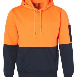 Hi Vis Two Tone Fleecy Hoodie Unisex UNISEX CASW38 Orange Navy Front Workwear Jacket
