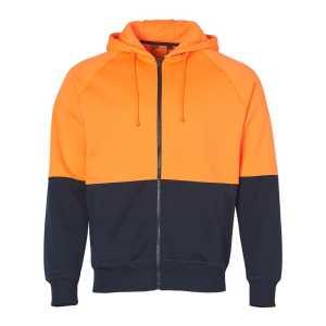 Hi Vis Two Tone Full Zip Fleece Hoodie Unisex CASW24 Fluoro Orange Navy Front Workwear Jacket